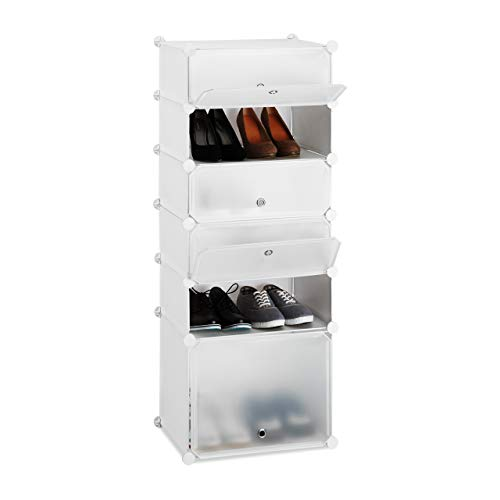 Relaxdays, weiß Schuhregal Kunststoff, Regalsystem 6 Fächer, Steckregal mit Türen, 12 Paar, DIY, HBT 52 x 37 x 9cm, Standard
