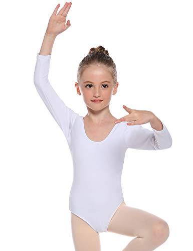 Hawiton Mädchen Ballettkleidung Ballettkleid Kinder Langarm Ballettanzug Rundem Ausschnitt Gymnastik Tanz-Body Tanzbody mit Rock Tütü
