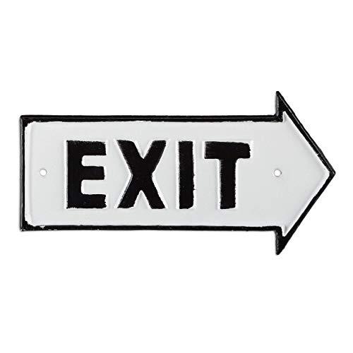 Relaxdays Exit Schild, Dekoschild für Wand & Tür, Antik-Design, Pfeil rechts, Beschilderung, Gusseisen, weiß/schwarz