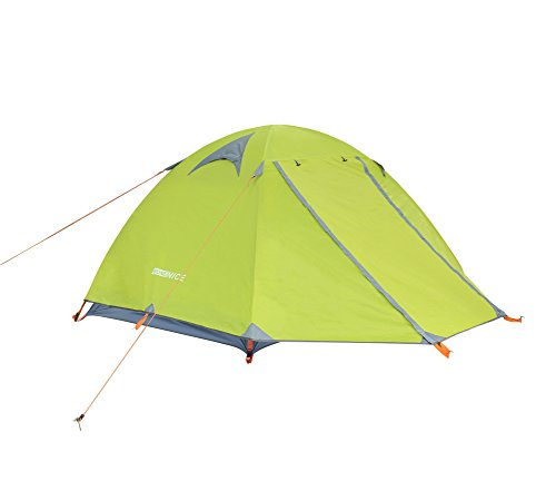 WoneNice Professional Camping Tent, 2-3 Person Family Double Layer Waterproof 3 Season Outdoor Dome Tent with Removable Rain Fly (Green)