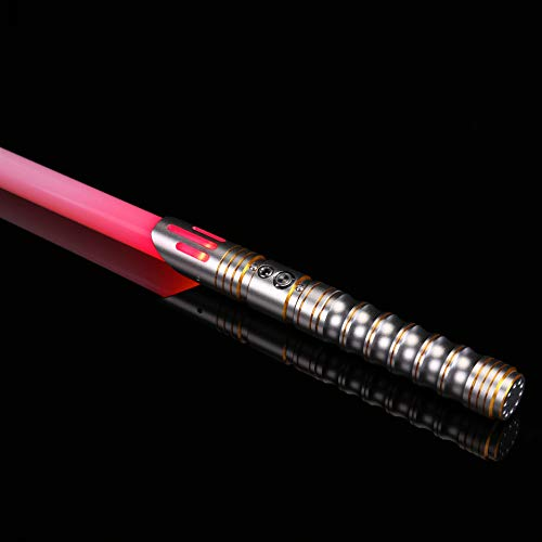 Ciel Tan RGB Lightsaber of Metal Aluminum Hilt Force FX Light Sabers with 1 inch Saber Blade, Lightsaber Toy for Adults Cosplay Star War Characters Heavy Dueling Silver
