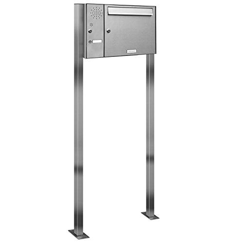 AL Briefkastensysteme 1er Edelstahl Standbriefkasten mit Klingel rostfrei als 1 Fach Briefkastenanlage in Postkasten Briefkasten Design modern