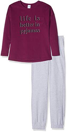 Sanetta Mädchen Pyjama Long Zweiteiliger Schlafanzug, Rot (Wine Red 3739.0), 152