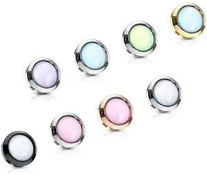 Rose Gold and Pink Illuminating 5mm Stone flat Set 316L Surgical Steel Dermal Anchor Top 1.6mm Body Piercing Jewelry