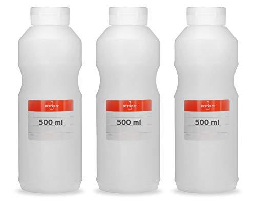 Octopus 3X Frascos exprimibles de 500 ml, frascos dosificadores con Tapa abatible y Abertura de Silicona, frascos de Ketchup o frascos de Salsa, Incl. Etiquetas de etiquetado