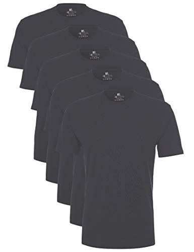 Lower East Herren T-Shirt mit Rundhalsausschnitt, Grau (Forged Iron), X-Large, 5er Pack