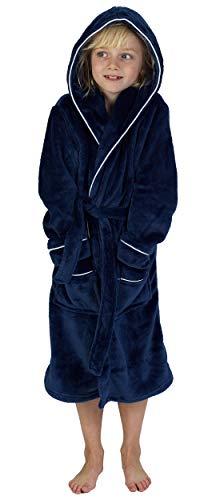 CityComfort Bademantel Jungen Morgenrock Jungen mit Taschen Schwarz Grau Sehr Warm (11-12 Jahren, Marine)
