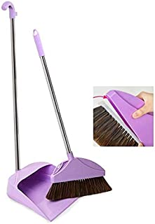 Dustpan and Brush Sets Sweeping Debris Soft Do Not Hurt The Floor Fast Cleaning Long Stainless Steel Grip Light Weight (Co...