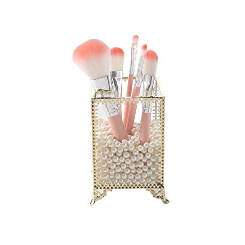 EXCEART Acrylique Boîte de Rangement de Support de Brosse de Maquillage Couvert Organisateur de Brosse Cosmétique pour Comptoir de Vanité (Sans Perle Et Pinceau de Maquillage)