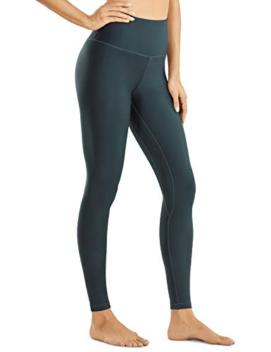 CRZ YOGA Fleece Lined Leggings Women Winter Warm Full Length High Waist Yoga Pants Workout Tight -28 Inches Hunter Green Medium