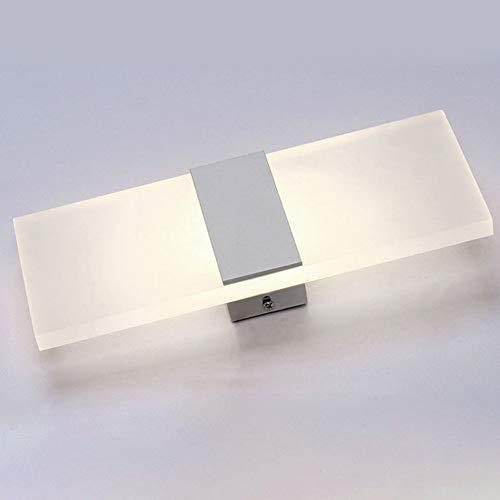 LED wandlamp, moderne acryl kandelaar voor aan de muur - oud licht bedlampje met decoratieve achtergrond - met zilver/zwarte strepen - voor woonkamer slaapkamer 14*6cm Bianco Angolo Retto Caldo Luce