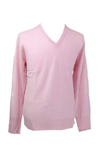 Shephe Men's V Neck Cashmere Sweater Pink Medium