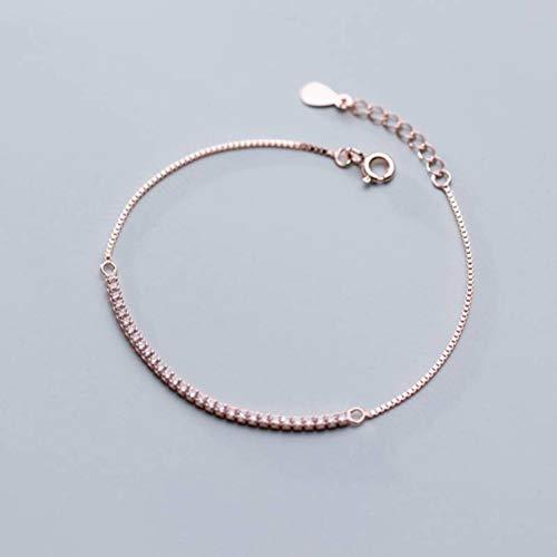 WOZUIMEI S925 Pulsera de Plata Femenina Coreana Personalidad Simple Estilo Literario Fila Diamante Temperamento Joyeríaoro rosa