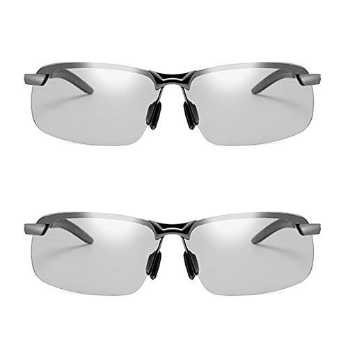 JTeam Gafas De Sol Polarizadas For Hombre 2 Pares Lentes Fotocrómicas Gafas Deportivas Conducción Y Ciclismo (Color : Gun metal)