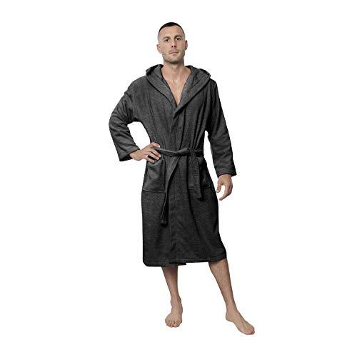 Twinzen Peignoir de Bain Homme - M - Gris - 100% Coton avec Capuche - Certifié OEKO-TEX® - Robe de Chambre Eponge 2 Poches, Ceinture - Doux, Absorbant et Confort