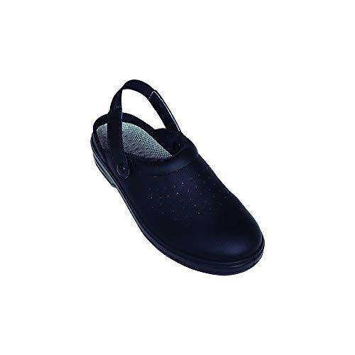Imperges Zuecos Sanitarios de Trabajo SafeWay A113 • Zuecos Mujer y Hombre con Suela de Goma Antideslizante • Zapatos para Enfermería Y Hostelería • Talla 37 • Color Negro