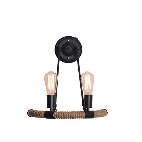 LGOO1 Doppia testa corda della canapa della lampada da parete di fissaggio a parete Illuminazione americano Vintage Armature industriali Retro Country Style Dining Hall Ristorante Bar Barn Warehouse C