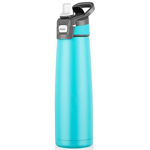Botella antigoteo, de acero inoxidable, 750 ml, duradera, sin BPA, con pajita abatible, botella deportiva aislada para viajes, deportes al aire libre, con juego de limpieza (verde)