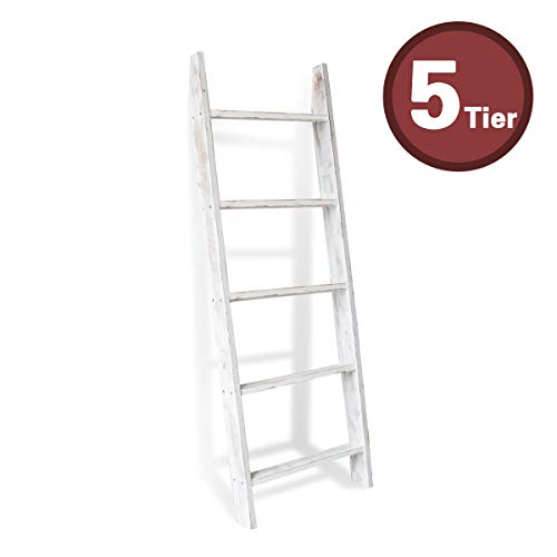 Honest Blanket Ladder Wooden Decorative, Rustic Blanket Ladder,Farmhouse Blanket Holder Rack, Wall Leaning Ladders, Ladder Shelf Stand,White