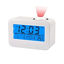 ❤LCD screen displays current time, date, month, weekday and temperature clearly ❤With soft blue backlight, it is very convenient to use at night ❤Voice or vibration controlled projection light will show current time on the ceiling, you can know time...
