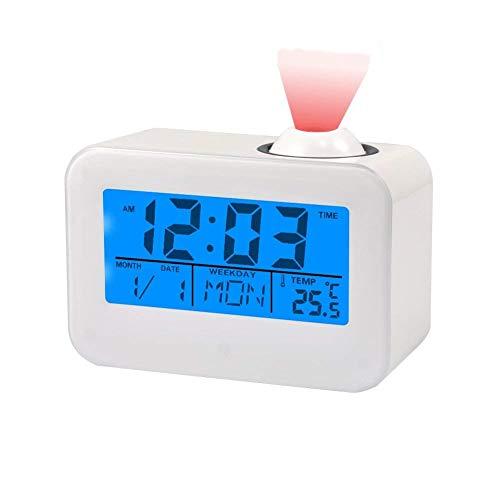 Despertador del proyector del LED. Pantalla del Reloj de proyección de Voz Multifuncional. Temperatura Digital. Reloj de la cámara, decoración doméstica, 12/24 Horas, Color Blanco