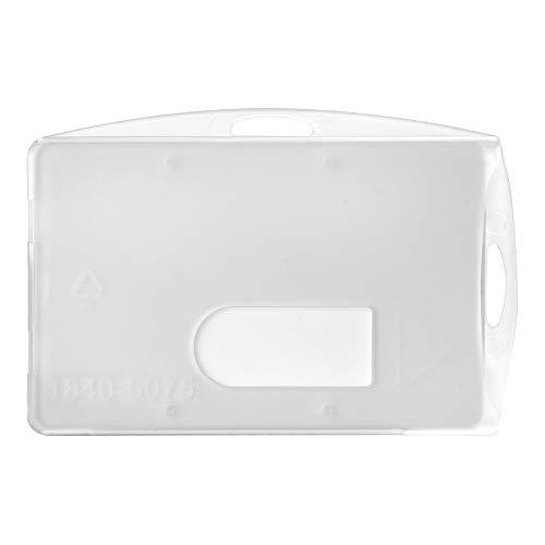 Karteo® Ausweishülle aus Hartplastik | Kartenhülle transparent | Kartenhalter horizontal und vertikal | Schutzhülle mit Daumenausschub für Ausweise Werksausweise im EC Karten-Format