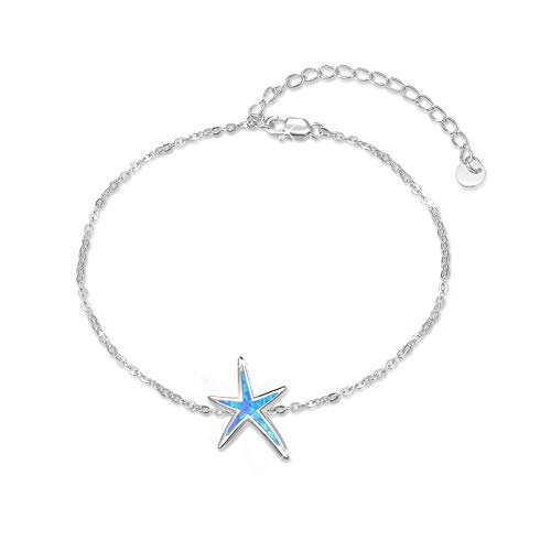 925 Sterling Silver with Blue Fire Opal Starfish Adjustable Bracelet, Beach Nautical Jewelry Valentine Gift for Women Girlfriend Daughter with Gift Box
