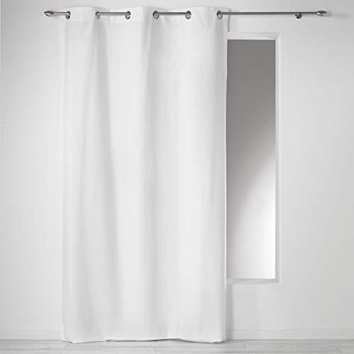 Douceur D'Intérieur - 1604616, Vorhang Mit Osen, 140 X 240 cm, Panama Uni, Panama Unifarben, Weiss