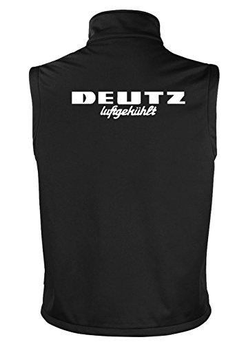 Deutz Softshell Weste | Brust- und Rückendruck | Schwarz | Größe L