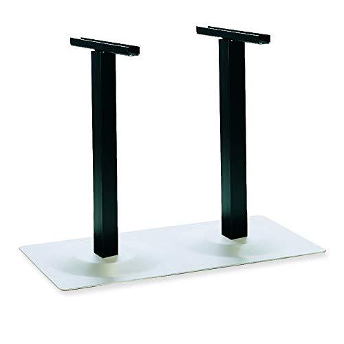generisch Edelstahl-Tischgestell, Mod. Wales-535-0299-4600 für Tischplatten bis 1400 x 1000 mm Bodenplatte 1000 x 625 mm Säulen schwarz 70 x 70 mm Höhe 700 mm Filzgleiter
