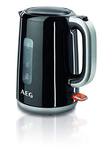 AEG EWA 3700 Expresswasserkocher (Super schnelles Aufkochen, 3000 Watt, 1,7 l, entnehmbarer Kalkfilter, Wasserstandsanzeige mit Liter-/Tassenangabe, Sicherheitsabschaltung, Ein/Aus-Schalter, schwarz)