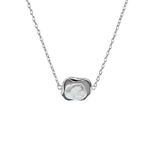 Secret & You Collar de Perlas Cultivadas de Agua Dulce Keshi de 9-10 mm Cadena y Colgante de Plata de Ley de 925 milésimas Rodiada - 45 cm de Largo.