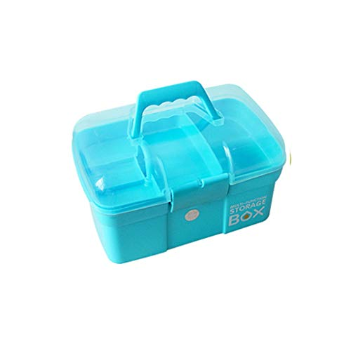 Kit di Pronto soccorso Medical-Kasten-Speicher, Double-Layer-Aufbewahrungsbehälter-Erste-Hilfe-Container, Große Sundries Box (Color : Blue, Size : S)