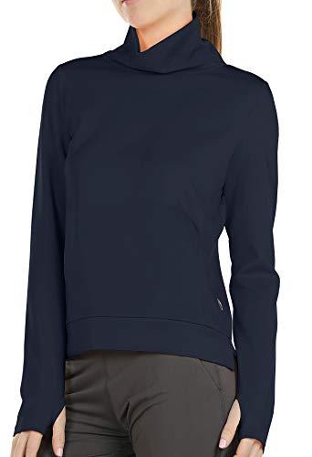 icyzone Sudadera básica de cuello alto para mujer, de manga larga, monocromática azul marino S