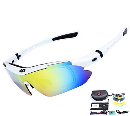Baselay Polarized Sports Sunglasses Sun Glasses UV400 With 5 Interchangeable Lenes for Men Women Cycling Running Driving Fishing Golf Baseball Goggles (White)