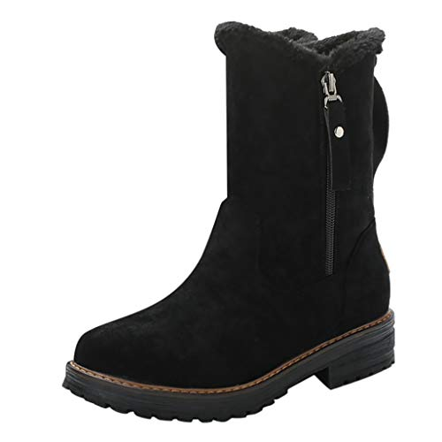 Frauen Winter Warme Schneeschuhe Plus Velvet Reißverschluss Labeled Stiefel Quadratische Fersen Vintage Casual Boots(Schwarz,38 EU)