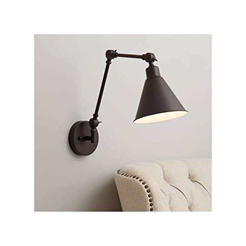 Wray Industrial Adjustable Swing Arm Wall Lamp Rich Bronze Metal Hardwired Light Fixture Up Down for Bedroom Bedside House Reading Living Room Home Hallway Dining Kitchen - 360 Lighting