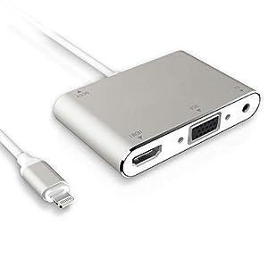 Adaptador HDMI VGA AV Convertidor, 2020 Último 4 en 1 Plug and Play Digtal AV Adaptador Compatible para i-PhoneX/8/8Plus/7/7Plus/6/6s/6s Plus/5/5s a proyector HDTV proyector Monitor (Plata)