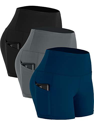 CADMUS Women's High Waist Yoga Shorts Spandex Running Side Pockets, 16#, Navy & Grey & Black,Large
