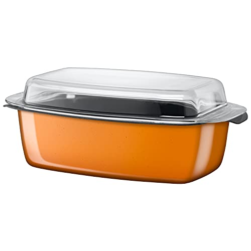 Silit Passion Orange Bräter Induktion 39 x 22 x 15 cm, Schmortopf mit Glasdeckel 5,3l, Silargan Funktionskeramik, backofenfest, orange