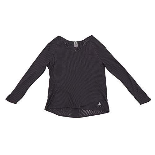 Odlo BL Top Crew Neck l/s Alma Natural Shirt Femme, Black-ZHD AOP SS19, FR : M (Taille Fabricant : M)