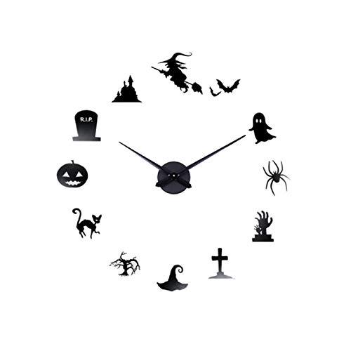 gongyu Reloj Creativo DIY Reloj de Pared Espejo Reloj de Pared de Cuarzo Etiqueta de la Pared Acrílico Horloge Hogar Decoración de Halloween Relojes