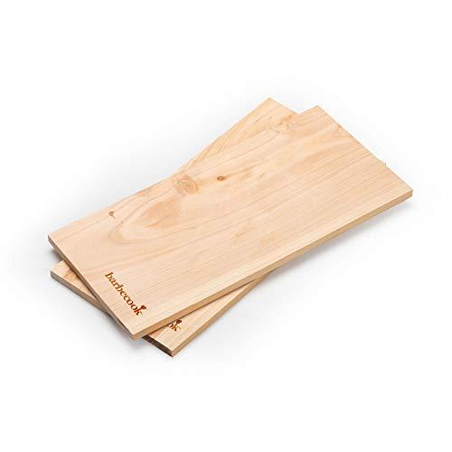barbecook Juego de 2 tablas de barbacoa de madera de haya para asar y ahumar para un aroma especial en la barbacoa para salmón flameado o carne.