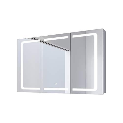 SONNI Spiegelschrank Bad 105 x 65cm Spiegelschrank mit Beleuchtung und Steckdose LED Spiegelschrank Bad 3 türig mit Touchschalter Badezimmer Spiegelschrank Kabelloses Scharnier Design