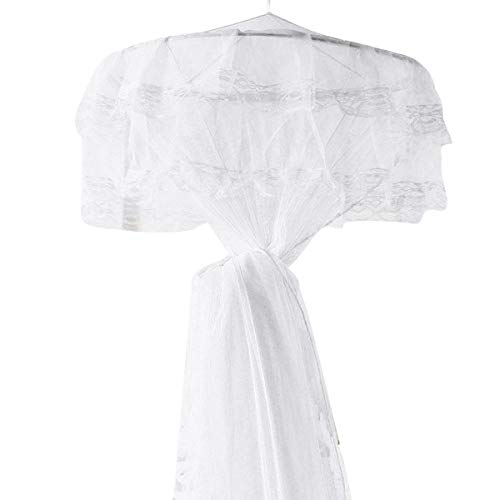 Vaorwne Wei? Princess Bed Canopy Netting Moskitonetz Runde Lace Dome für Twin Full und Queen Size Betten Krippe