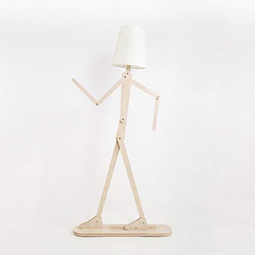 Houten Original Staande Lamp Variety Character Modeling Shade linnen wit Modern Cool Permanent Light for Children's Room Modern Home Energy Saving Staande Lamp Vloerlamp Plank Lamp LED (Color : A)