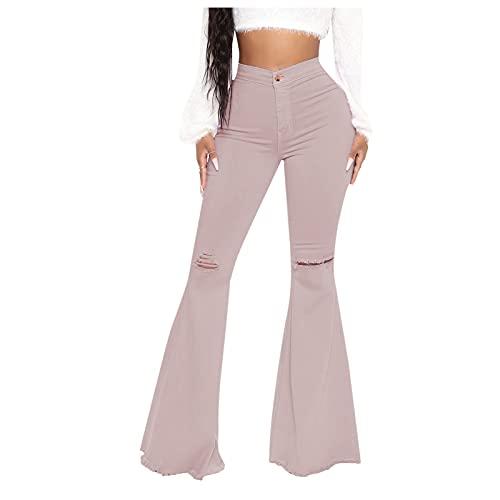 Yue668 Pantalones de mezclilla para mujer, de color liso con bolsillos, vaqueros con cremallera y botones para mujer, pantalones ajustados de vaquero de Jamba grande