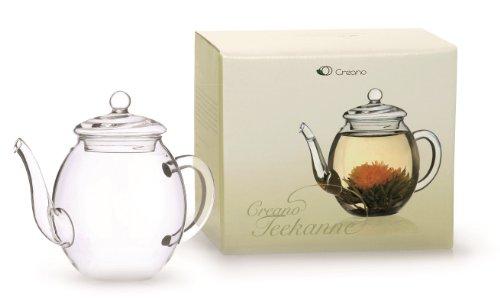 Teiera Creano in vetro con coperchio per tè da fiori di tè, rose da tè e tè sciolto e bustine di tè | 500ml, di alta qualità, resistente al calore