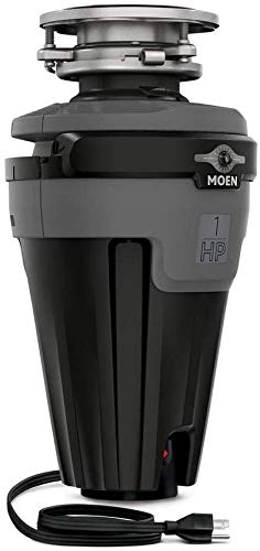 Moen Space Saving Continuous Feed and Lighted Garbage Disposal, Power Cord Included (1 HP)