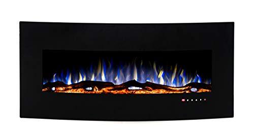 Noble Flame Detroit 1220 – gewölbter Elektrokamin Wandkamin Kamin-Ofen – inkl. Elektroeinsatz mit Heizfunktion - Ambiente-Wandbeleuchtung - schwarz